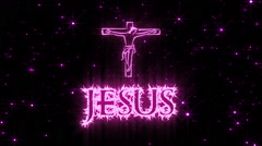 Jesus Shiny Text Animation Pink Stock Footage