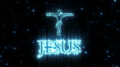 Jesus Shiny Text Animation Blue Stock Footage