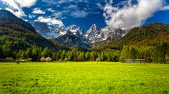 Slovenian Julian Alps and the Špik (Spike) mountain Stock Photos