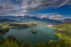 Magical view of Lake Bled Stock Photos
