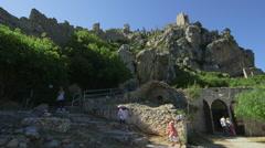FAMILY KANTARA CASTLE RUINS KYRENIA CYPRUS Stock Footage
