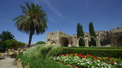 BELLAPAIS MONASTERY NEAR KYRENIA NORTHERN CYPRUS Stock Footage