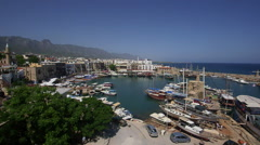 HARBOUR BOATS MEDITEREANEAN KYRENIA CYPRUS Stock Footage