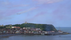 RED ARROWS AERIAL DISPLAY TEAM SCARBOROUGH ENGLAND Stock Footage