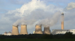 DRAX POWER STATION COOLING TOWERS CHIMNEY ENGLAND Stock Footage