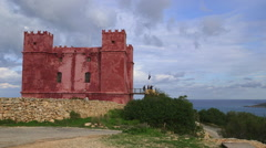 THE RED SAINT AGATHA'S TOWER MELLIEHA MALTA - stock footage