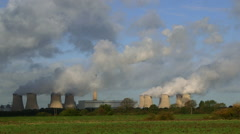COOLING TOWERS CHIMNEY DRAX YORKSHIRE ENGLAND Stock Footage