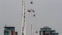 EMIRATES AIR LINE CABLE CAR LONDON ENGLAND Stock Footage