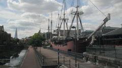 REPLICA SAILING SHIP TOBACCO DOCK EAST LONDON Stock Footage