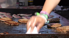 BURGERS BACON ON HOT GRIDDLE THE GREAT YORKSHIRE Stock Footage