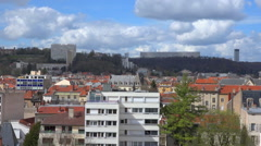 Nancy - French city panorama - sunny day - pan 50 Fps Stock Footage