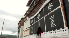 Ancien buddhist temple in buddhist monastery, China Stock Footage