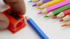 Pencils sharpening. Concept. Stock Footage