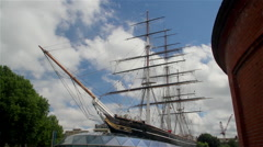CUTTY SARK CLIPPER SHIP GREENWICH LONDON ENGLAND Stock Footage