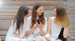 Lifestyle selfie portrait of young positive girls having fun and making selfie Stock Footage