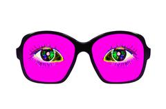 Pink glasses with eyes inside isolated on white. - stock photo