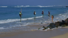 STILT FISHERMEN MODEL IN MIDIGAMA SRI LANKA Stock Footage