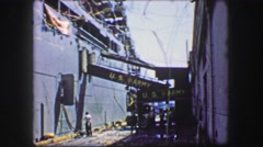 1944: US Army victory celebrate ribbon streamer ship loading ramp. Stock Footage
