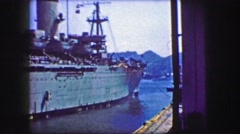 1944: Newly built US Army transport ship leaving port for war zone. Stock Footage