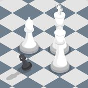 Isometric black pawn surrounded by white king queen bishop on the chessboard - stock illustration