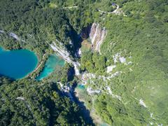 Aerial view of beautiful nature in Plitvice Lakes National Park, Croatia Kuvituskuvat