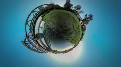 360Vr Video Train is Riding Over River by Bridge Houses Village on a Bank Metal Stock Footage
