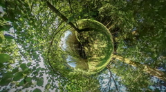 360Vr Video People Spend Time Near River Walking by Lake Bank Smooth Water - stock footage