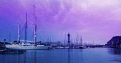 Yacht marina at sunrise. Timelapse of clouds on pink sky over yacht port Stock Footage