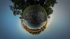 360Vr Video Man Running Toward Railroad Bridge Green Trees on a Bank Metal Stock Footage