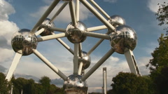 View of the building of the Atomium in Belgium Stock Footage