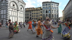 Hare Krishna group performs, Florence, Italy - stock footage