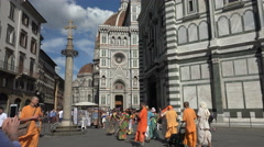 Hare Krishnas dance, historic Florence, Italy Stock Footage