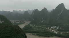 Li river in Guilin in Yangshuo Contry, China - stock footage