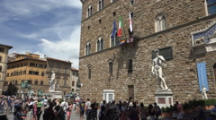 Rainbow Flag flies in Florence Stock Footage