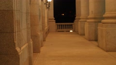 Lights and pillars at the Utah State Capitol at night Stock Footage