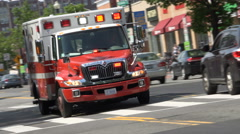 EMS ambulance, Dutch angle, passing - stock footage