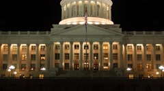 The Utah State Capitol Building at Night tilting shot Stock Footage
