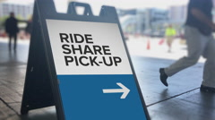 Ride Sharing Pickup Location Directional Sign Stock Footage