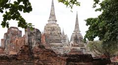 Wat Phra Si Sanphet temple in Ayutthaya, Thailand Stock Footage