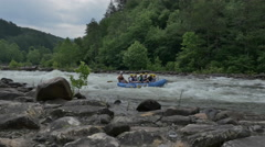 Cinematic Ocoee Whitewater Rafting Group in Tennessee Mountains Stock Footage