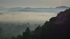 Foggy Morning River Valley in Tennessee - stock footage