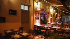 Restaurant at night on the famous street in Aix-en-Provence, France Stock Footage