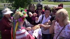 Guests break bread - stock footage