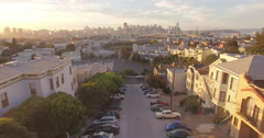 Aerial drone view flying over protrero hill in san francisco at sunset Stock Footage