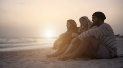 Group of four friends enjoy, smile and stretch outdoor Stock Footage