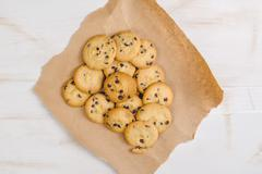 Pile of tasty homemade american chocolate chip cookies - stock photo
