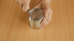 Canned food on the table. Stock Footage