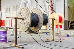 Cable spool, Coil at construction site - stock photo