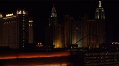 4K ES: Las Vegas Skyline Features The Monte Carlo Hotel Stock Footage