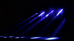 Blue Stage Lights Rise Up. Right View Stock Footage